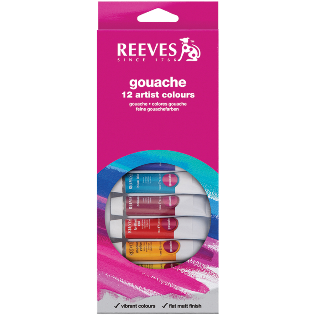 Reeves Gouache Watercolor Assorted Colors 12 Per Pack