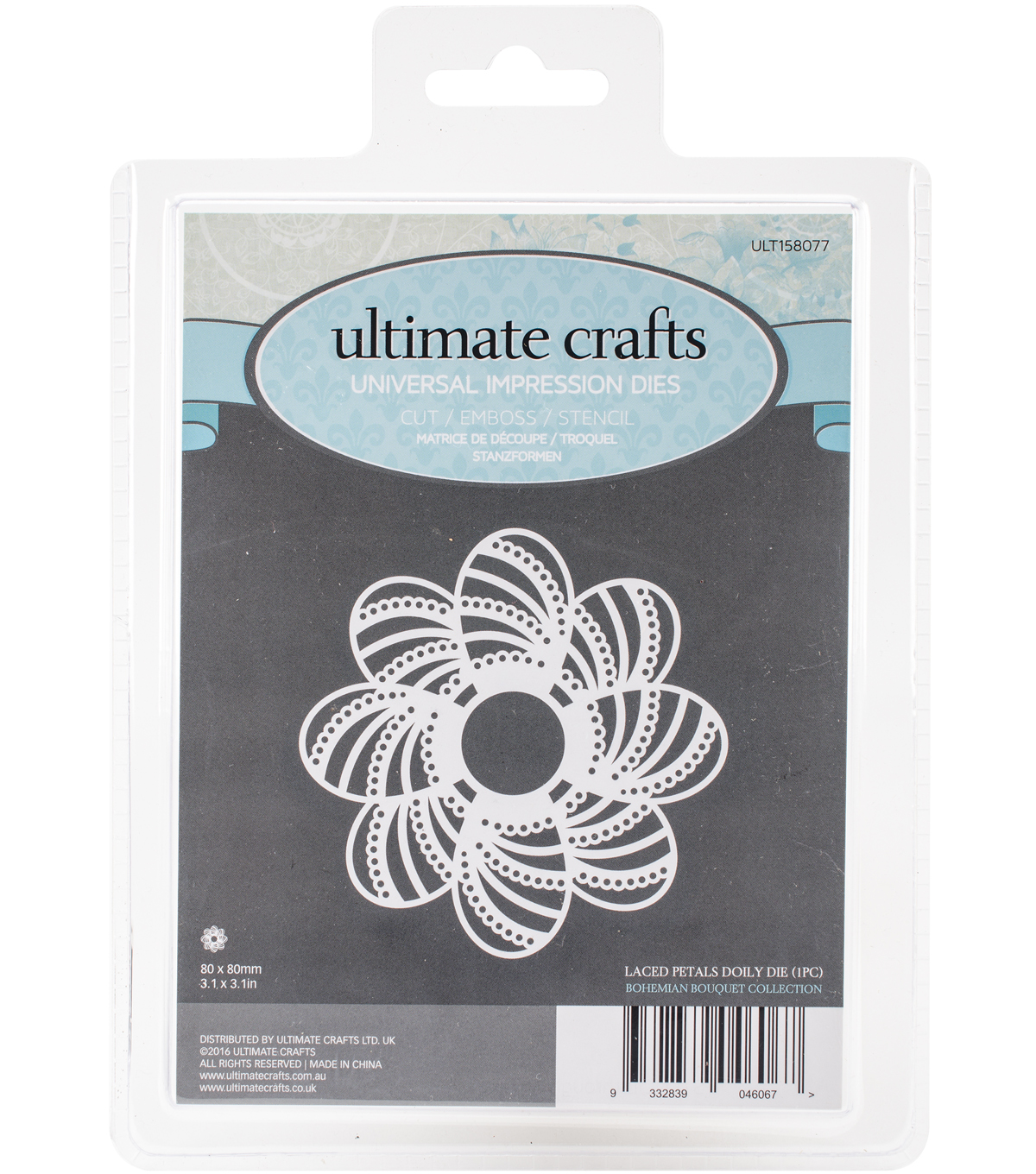 Ultimate Crafts Bohemian Bouquet 3.1\u0027\u0027x3.1\u0027\u0027 Die-Laced Petals Doily