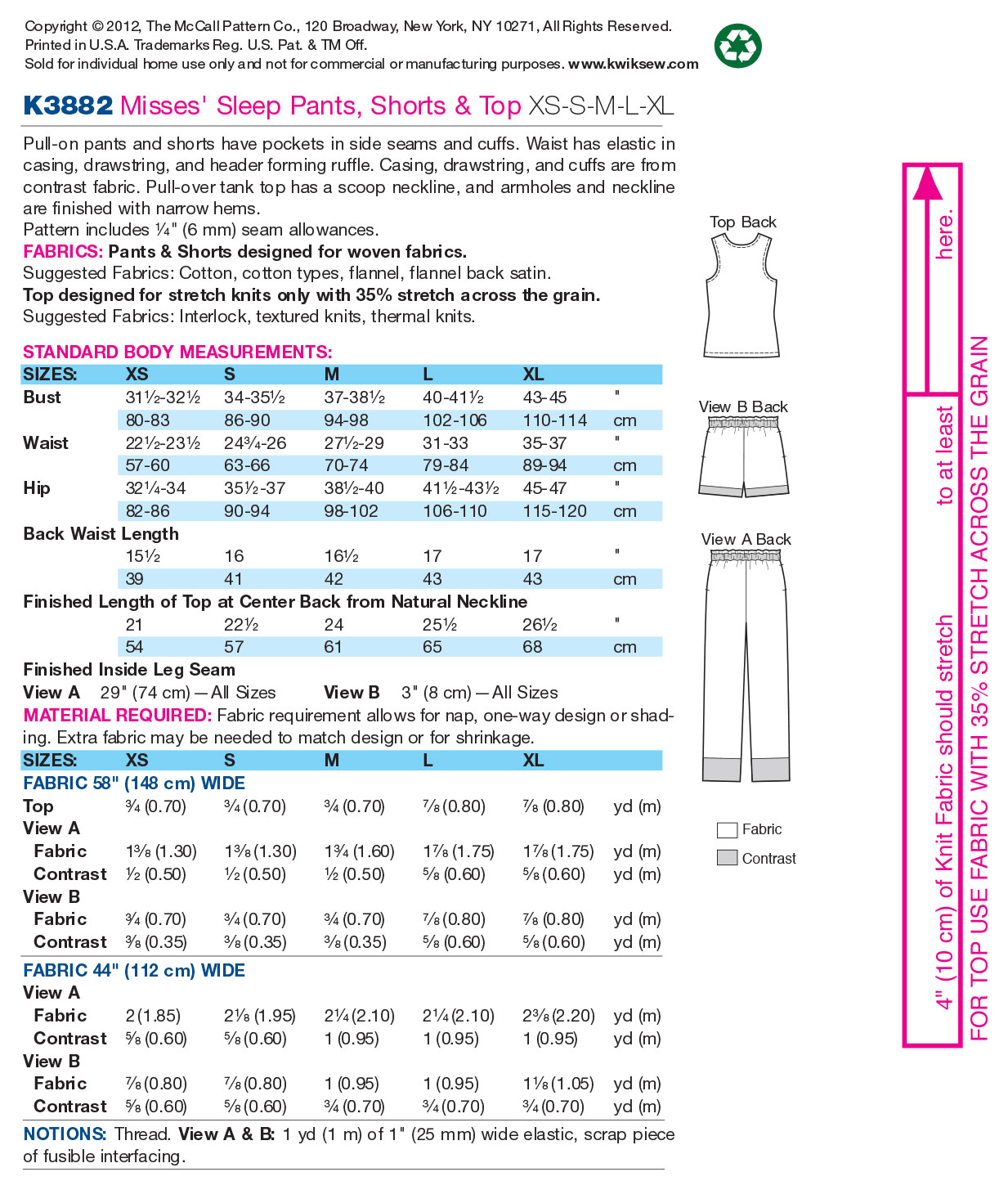 Kwik Sew Misses Sleep & Lounge-K3882