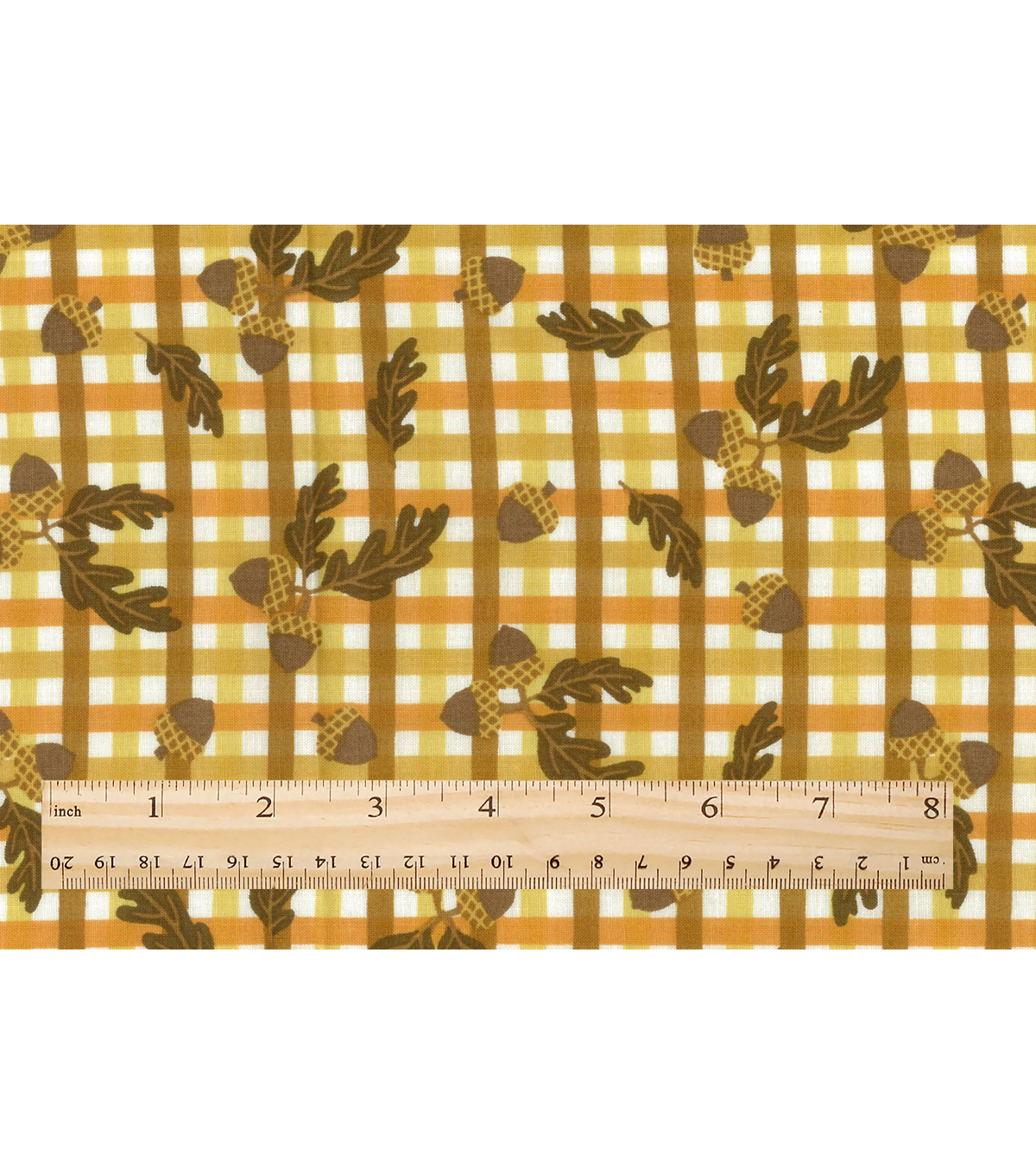 Harvest Cotton Fabric-Acorns On Plaid