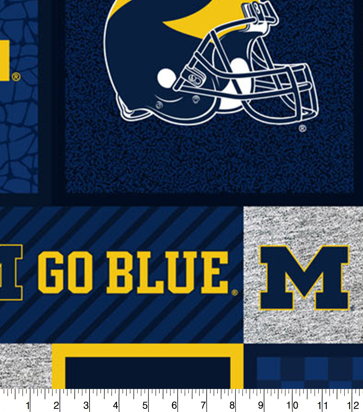 Michigan Wolverines Fleece Fabric-College Patch
