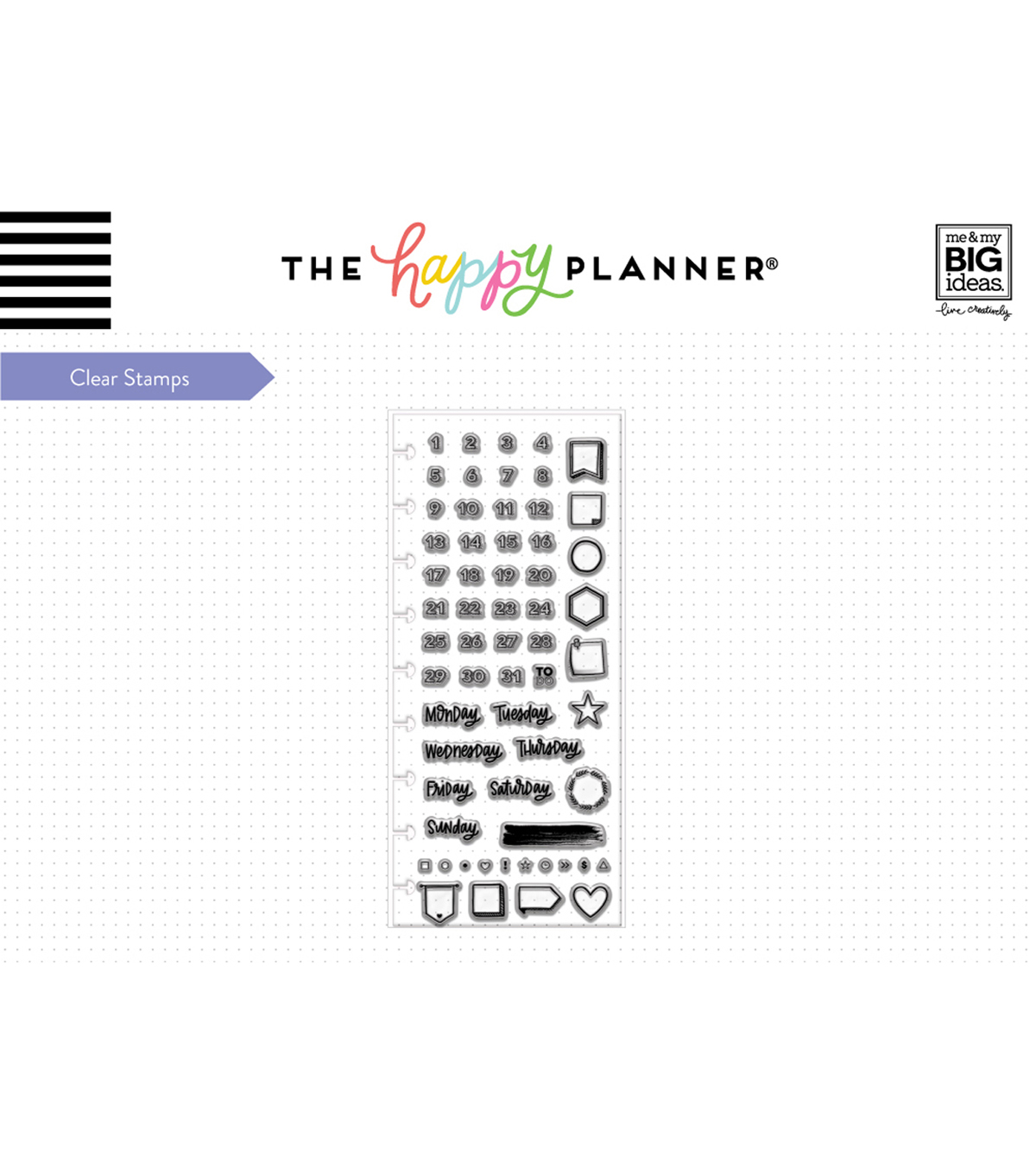The Happy Planner 61 pk Clear Stamps-Days & Numbers