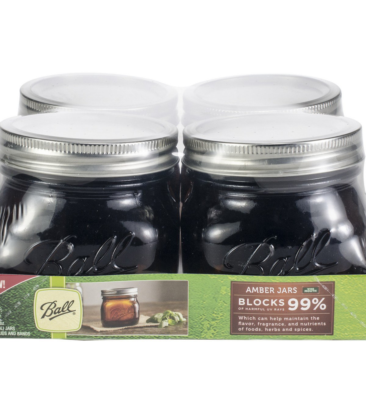 Ball Wide Mouth Canning Jars 4/Pkg-Pint Elite Color Series Amber 16oz