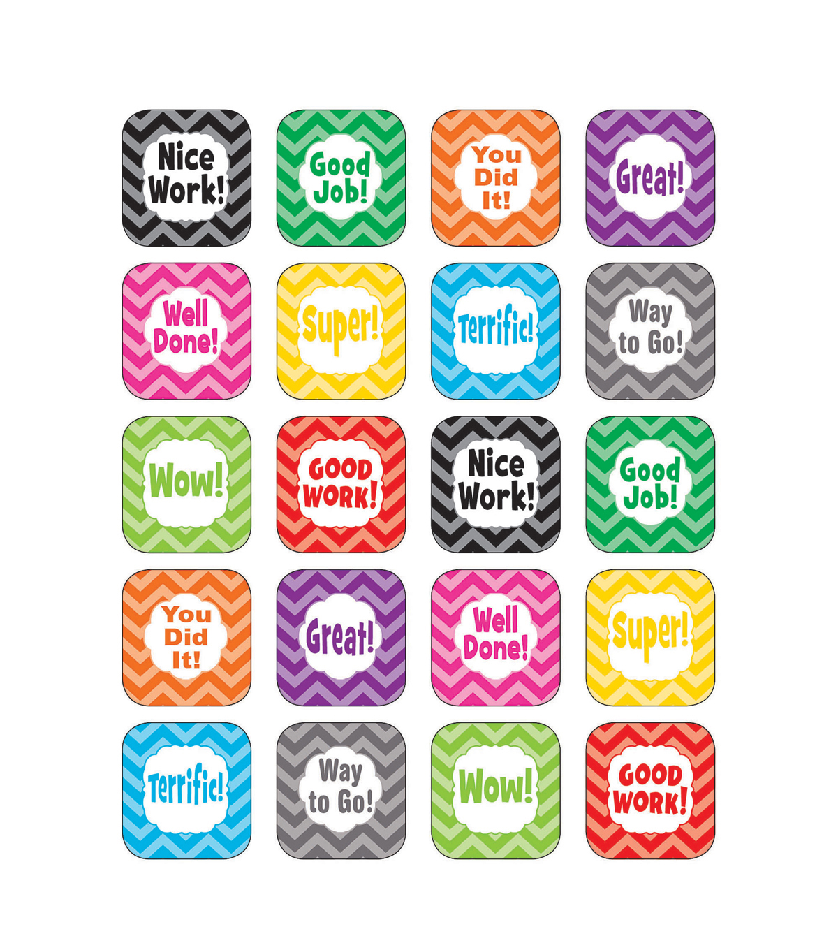 Teacher Created Resources Chevron Stickers 12 Packs