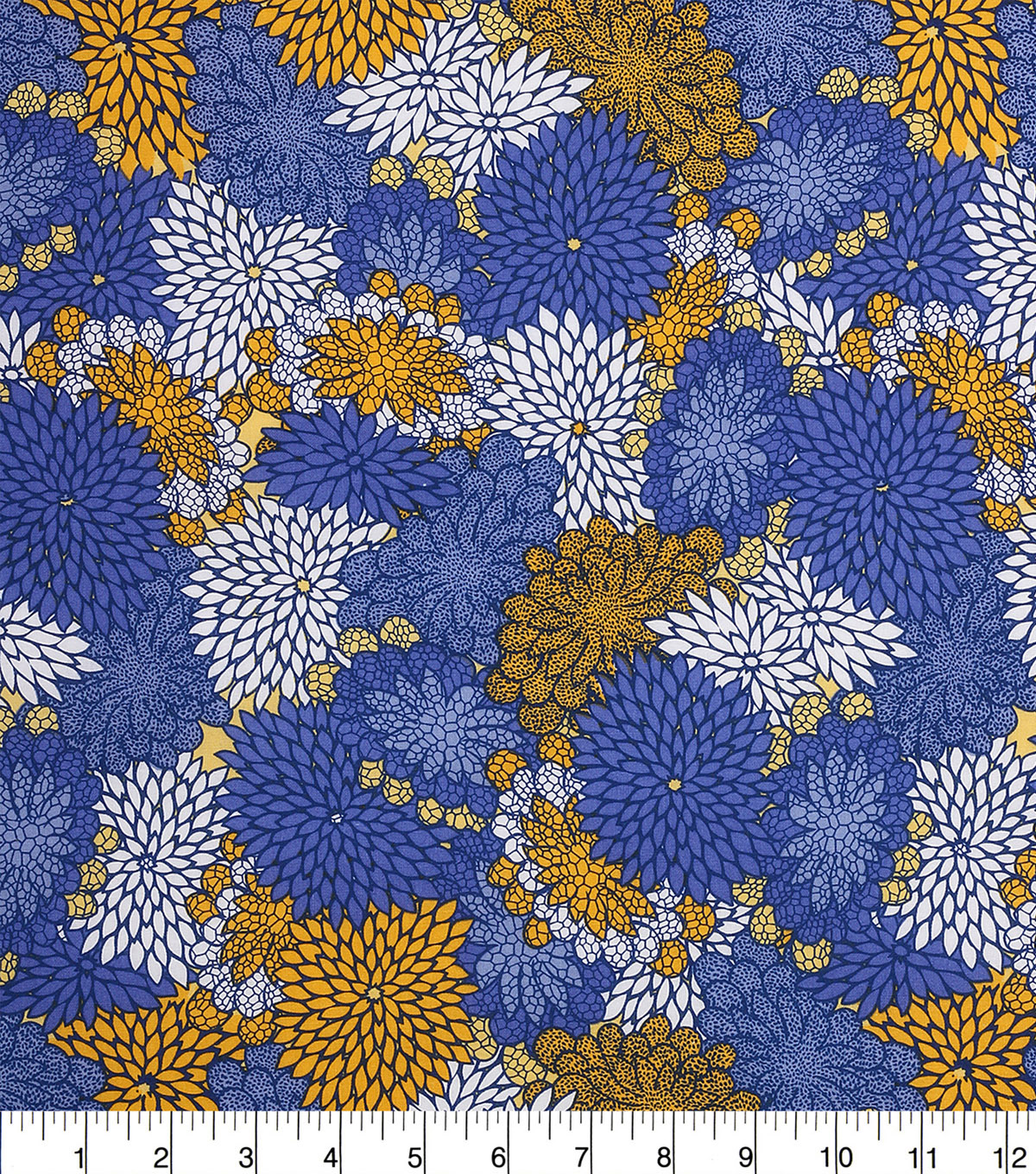 Keepsake Calico Cotton Fabric 43\u0022-Yellow Blue Packed Floral