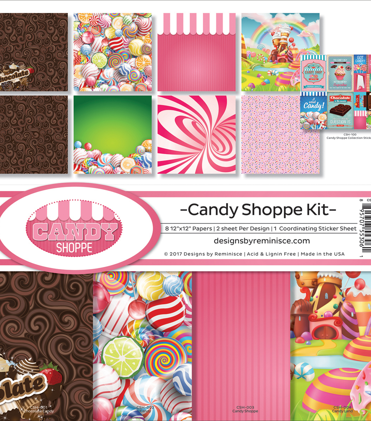 Reminisce Collection Kit 12\u0022X12\u0022-Candy Shop, 8 Papers & Stickers