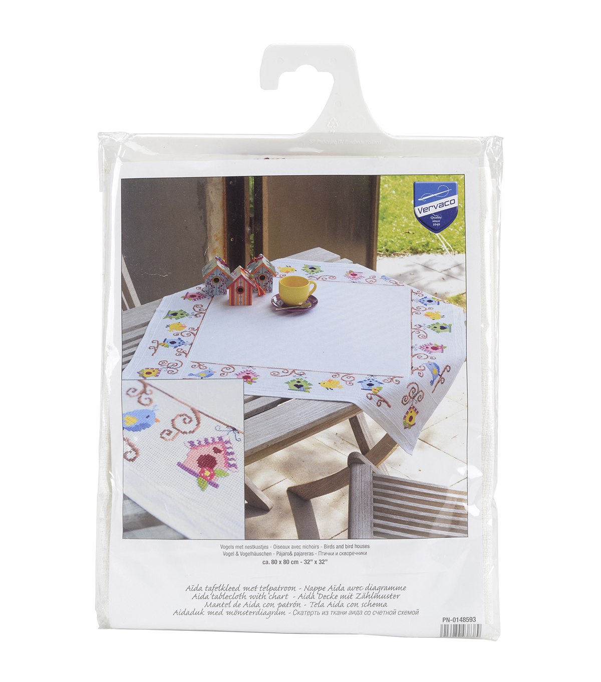 Vervaco Tablecloth On Aida Counted Stitch Kit-Birds And Bird Houses