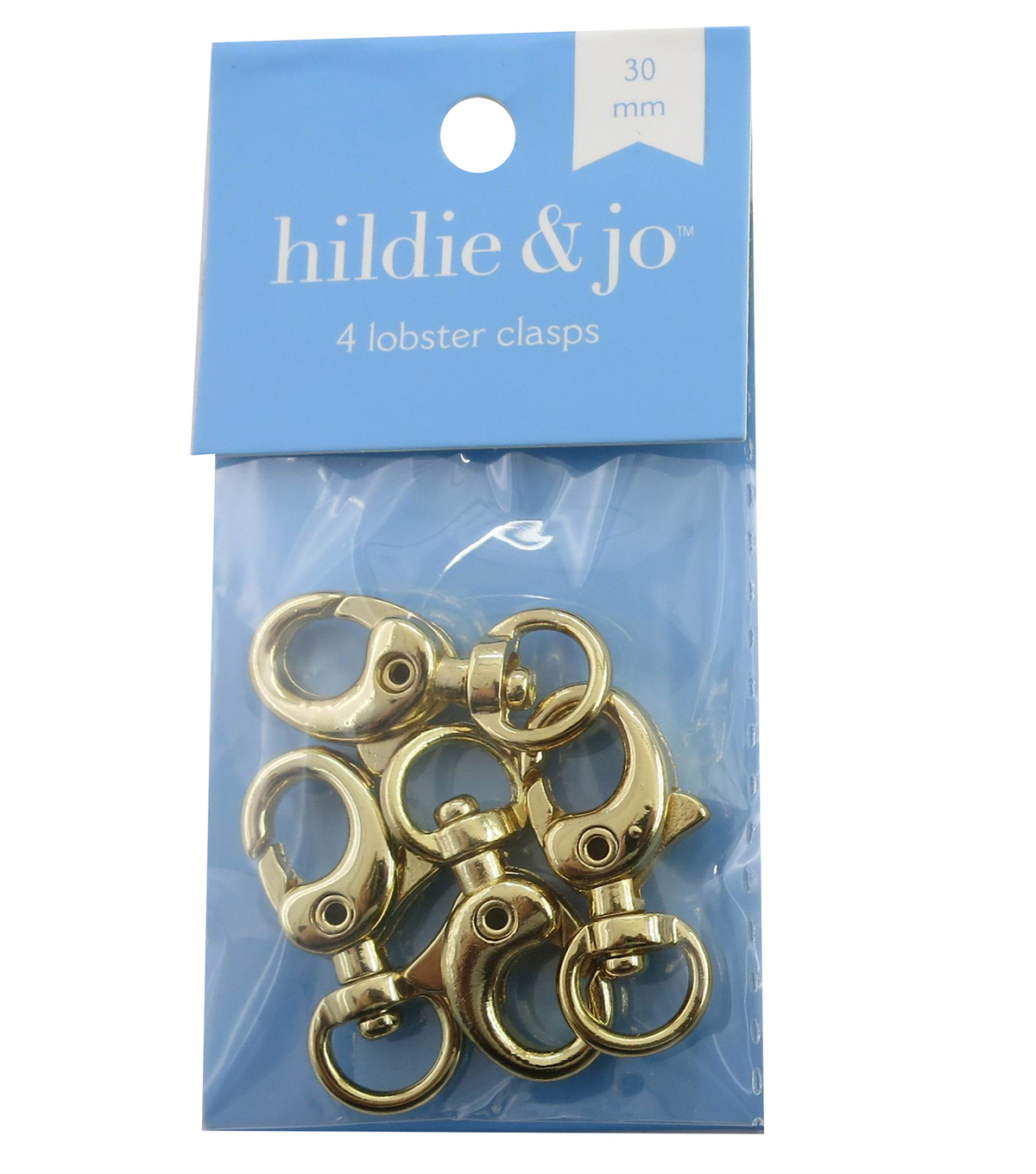 hildie & jo 4 Pack 30mm Lobster Clasps-Gold