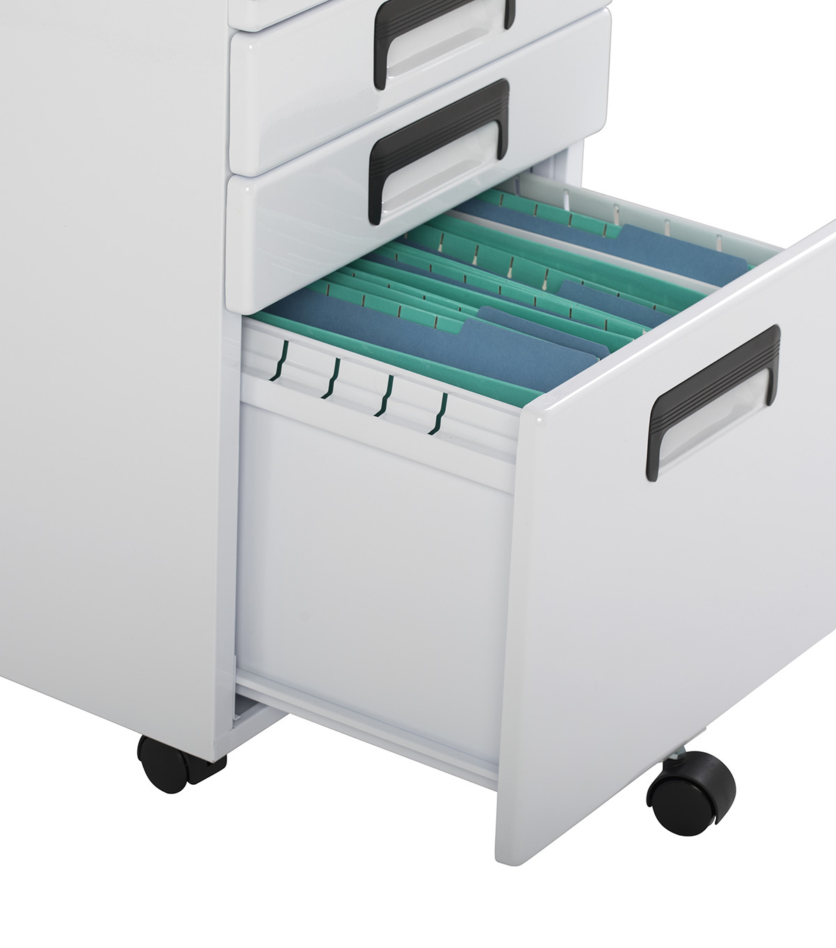 Studio Designs 3 Drawer Rolling File Cabinet-White