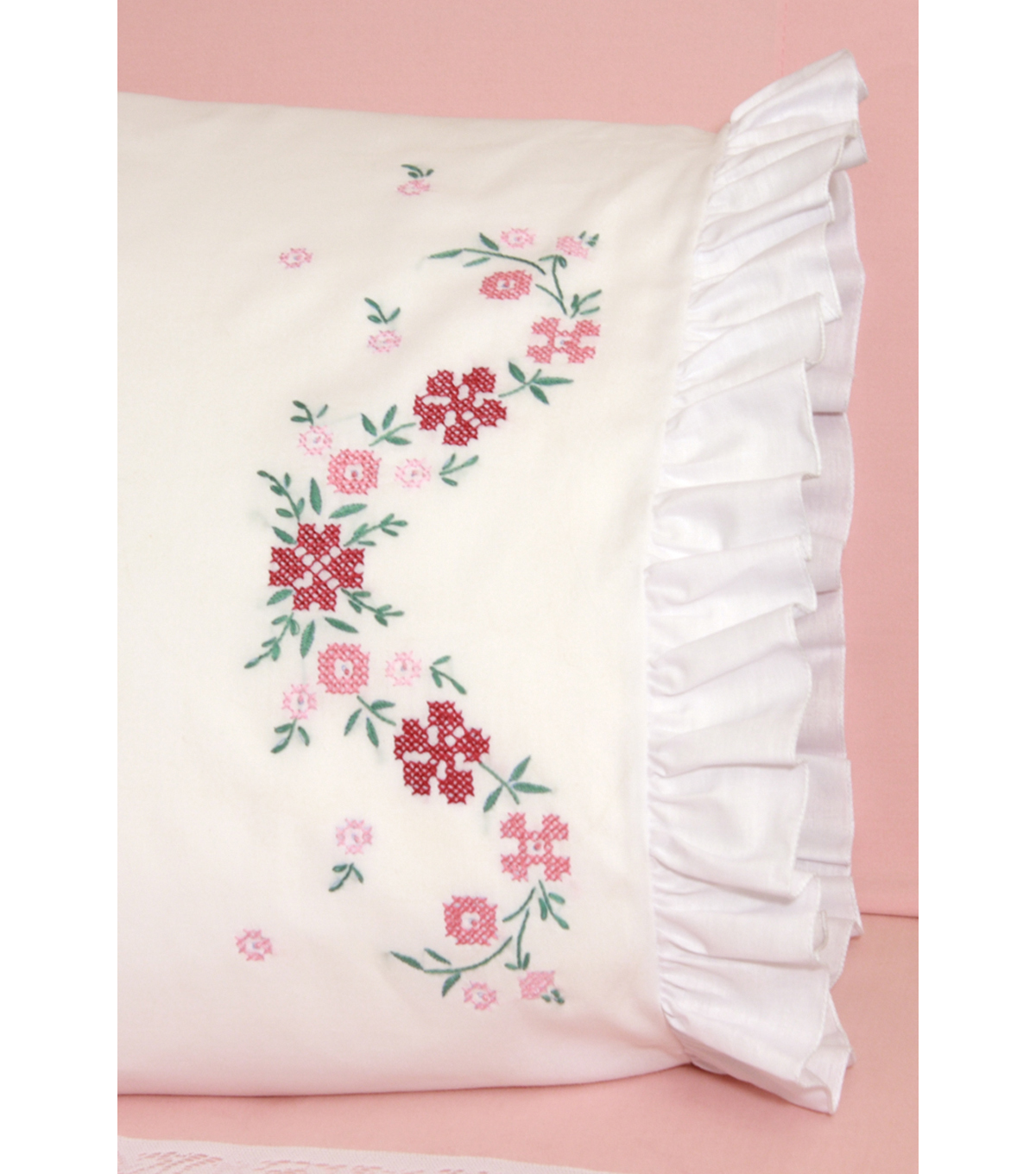 Fairway Stamped Cross Stitch Lace Edge Pillowcase Flower
