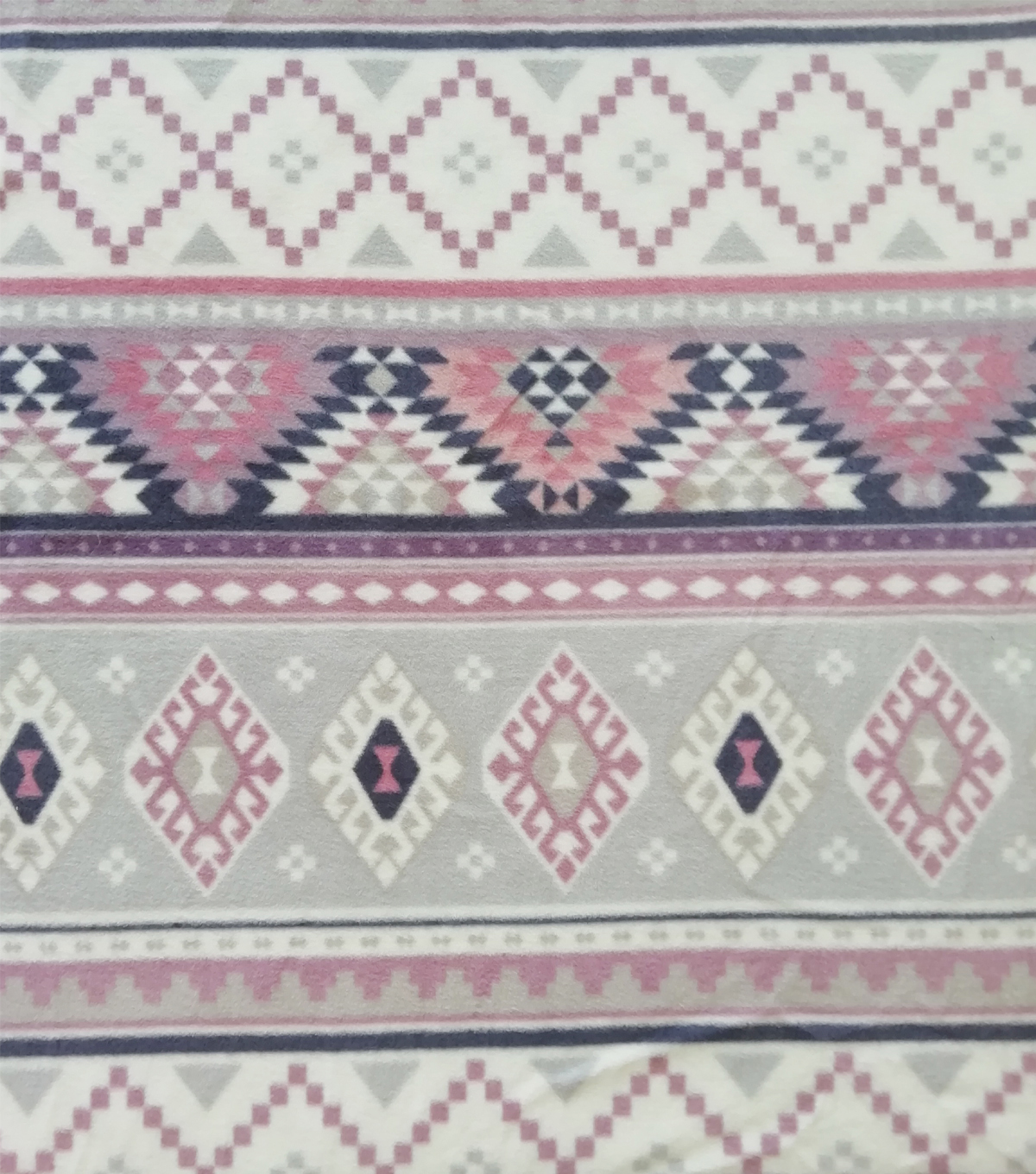Anti-Pill Plush Fleece Fabric-Bali Aztec Pink Purple