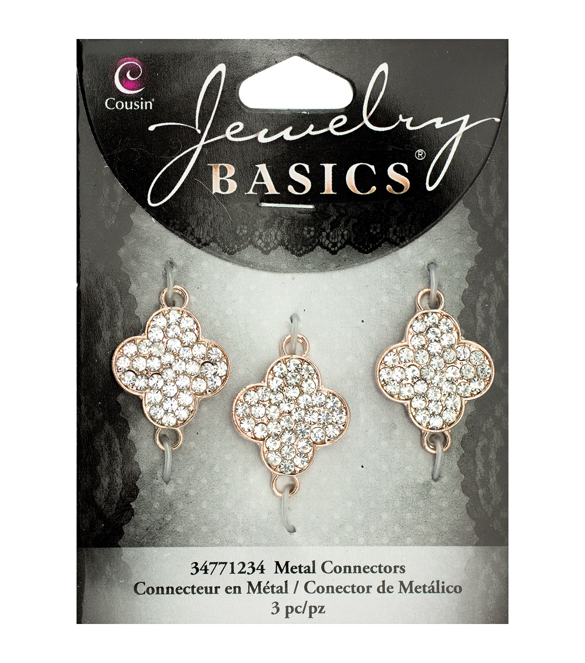 Jewelry Basics Metal Charms-Glass Rhinestone Rose Gold Clover