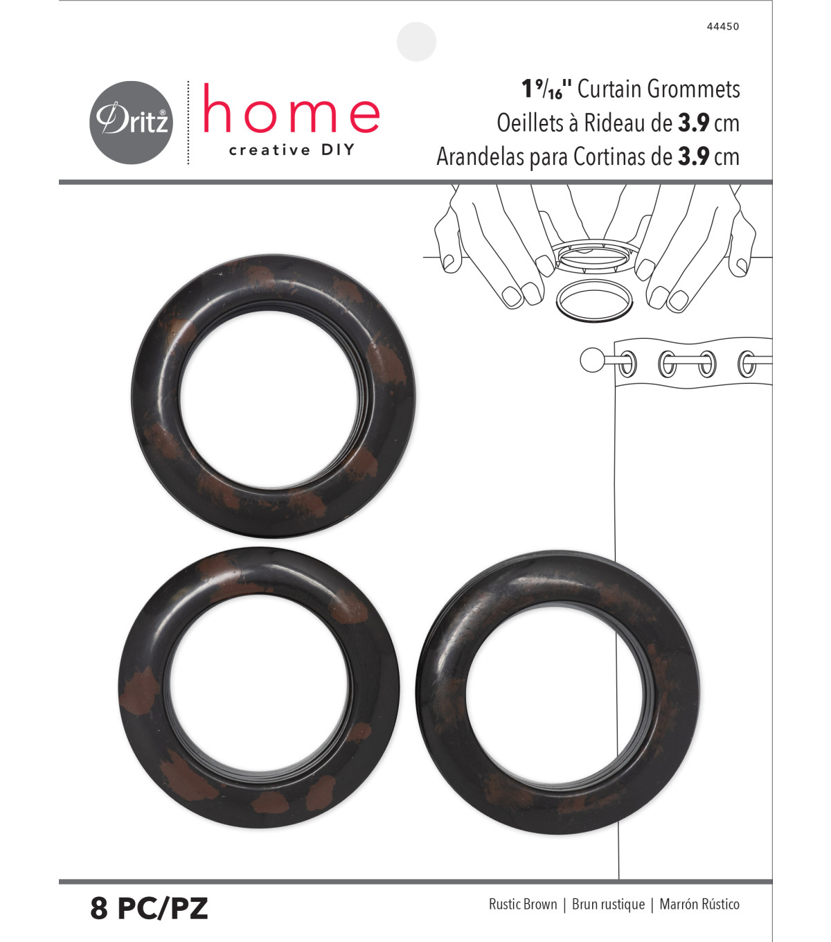 Dritz 1.56\u0022 Curtain Grommets Brown 8pcs