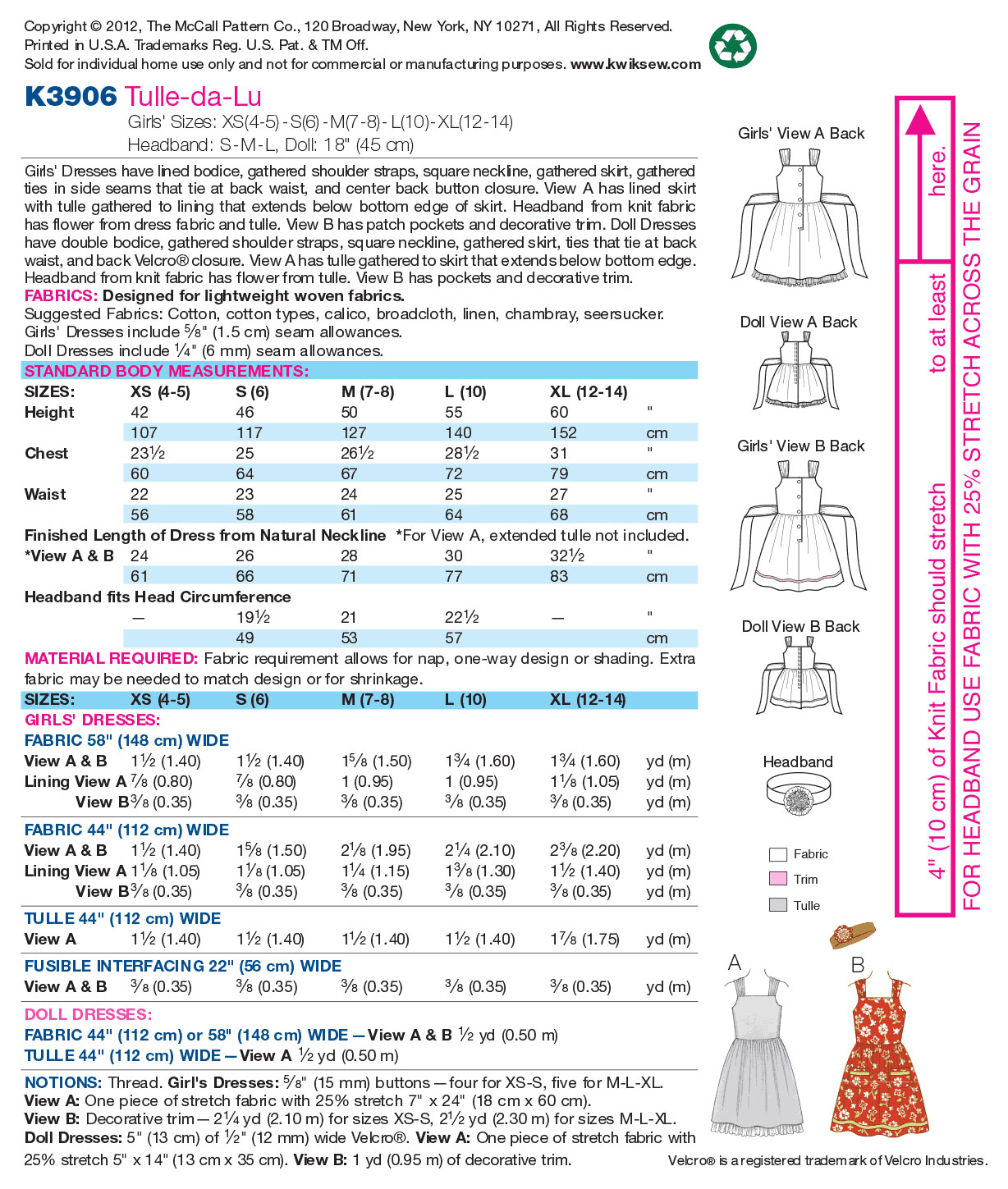 Kwik Sew Child Dress-K3906