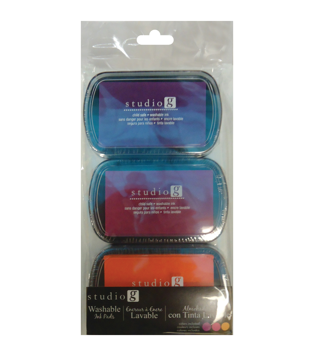 Washable Ink Pads 3/Pkg-Brights