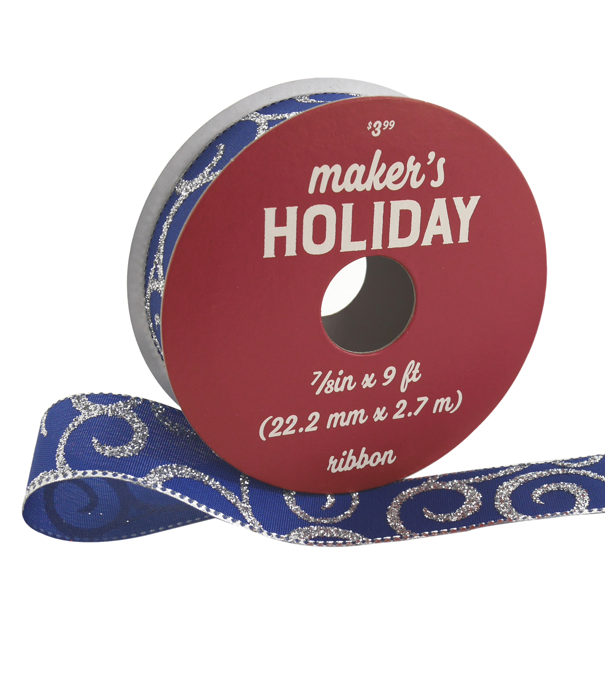 Maker\u0027s Holiday Ribbon 7/8\u0027\u0027x9\u0027-Silver Glitter Swirls on Navy Blue