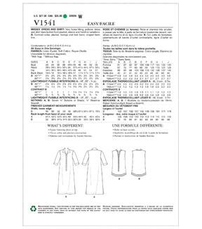 Vogue Pattern V1541 Misses\u0027 Loose-Fitting Dress & Shirt-Size A-J