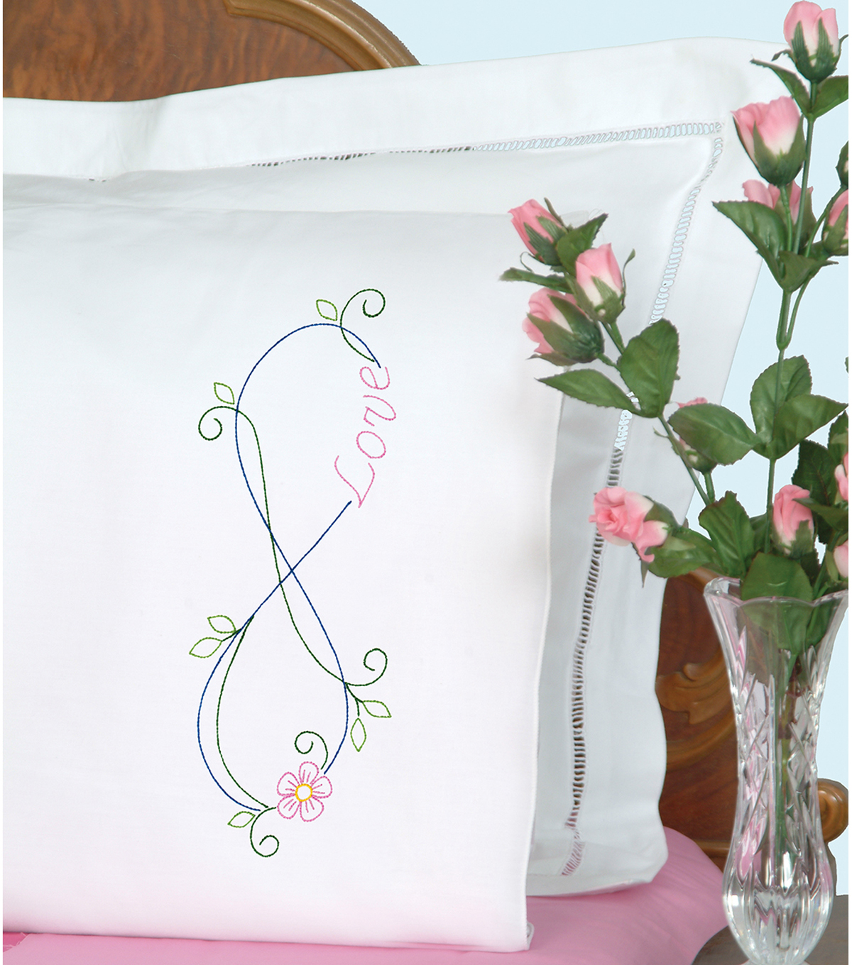 Jack Dempsey Needle Art 2 pk Stamped Perle Edge Pillowcases-Infinity
