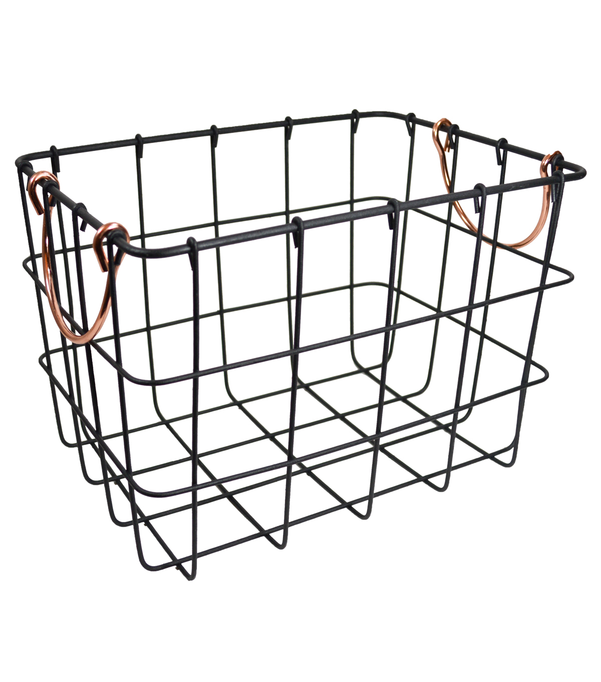 Medium Metal Basket with Copper Handles