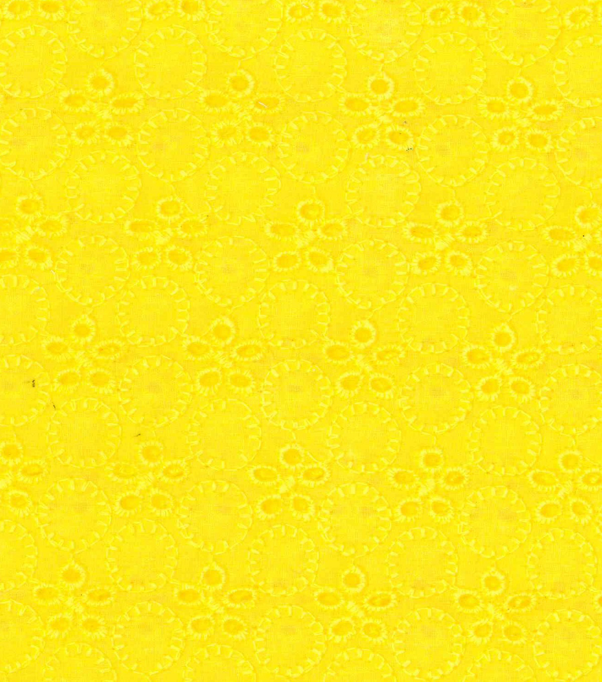 Doodles Collection Flower Eyelet Fabric-Yellow