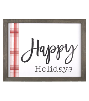 Handmade Holiday Christmas Wall Decor-Happy Holidays & Plaid Stripe