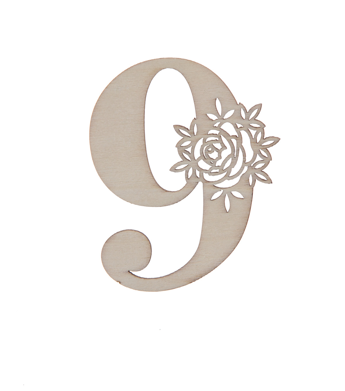 Simply Spring 3\u0027\u0027x3\u0027\u0027 Unfinished Wood Number with Floral, 9