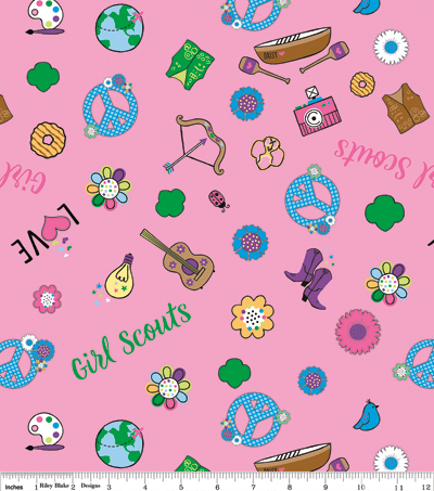 Girl Scout Cotton Fabric -Camping on Pink