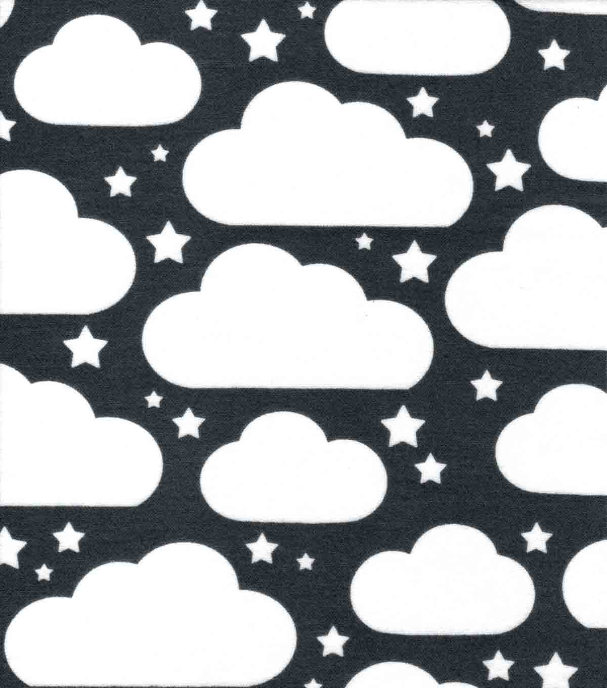 Nursery Flannel Fabric-Gray Clouds