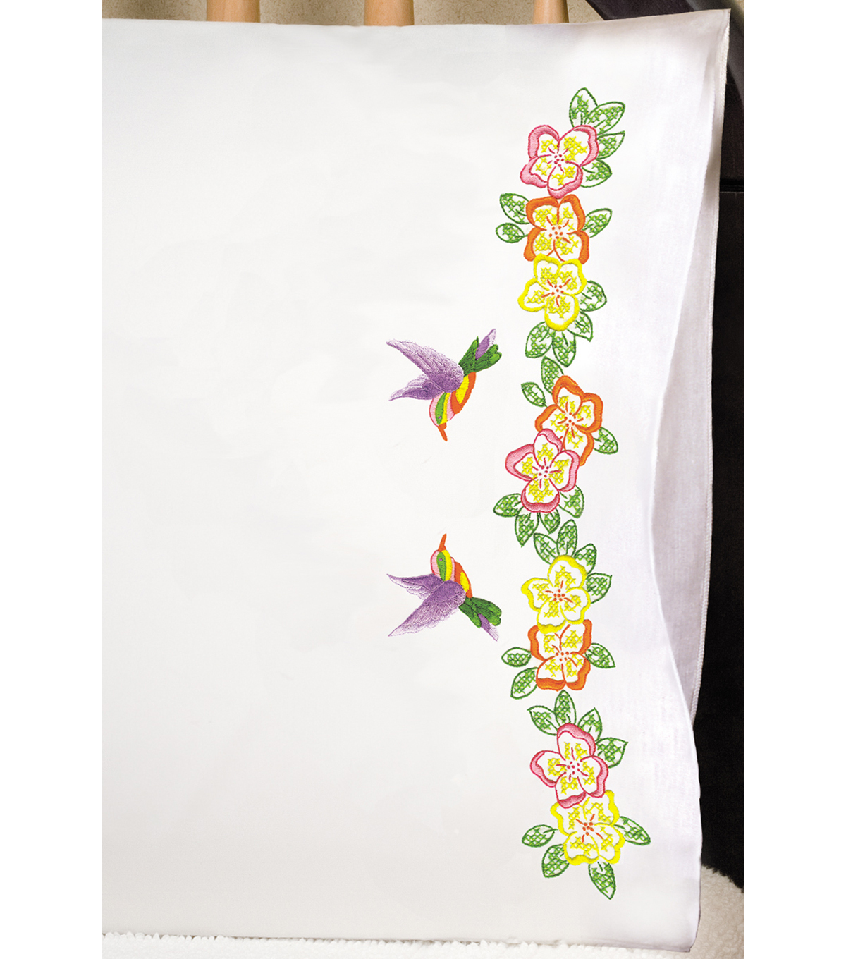 Stamped Pillowcase Pair 20\u0022X30\u0022 For Embroidery-Hummingbird