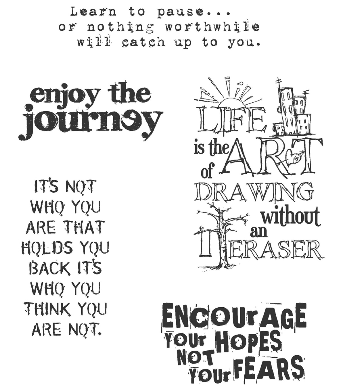 Tim Holtz Cling Rubber Stamp Set-Just Thoughts