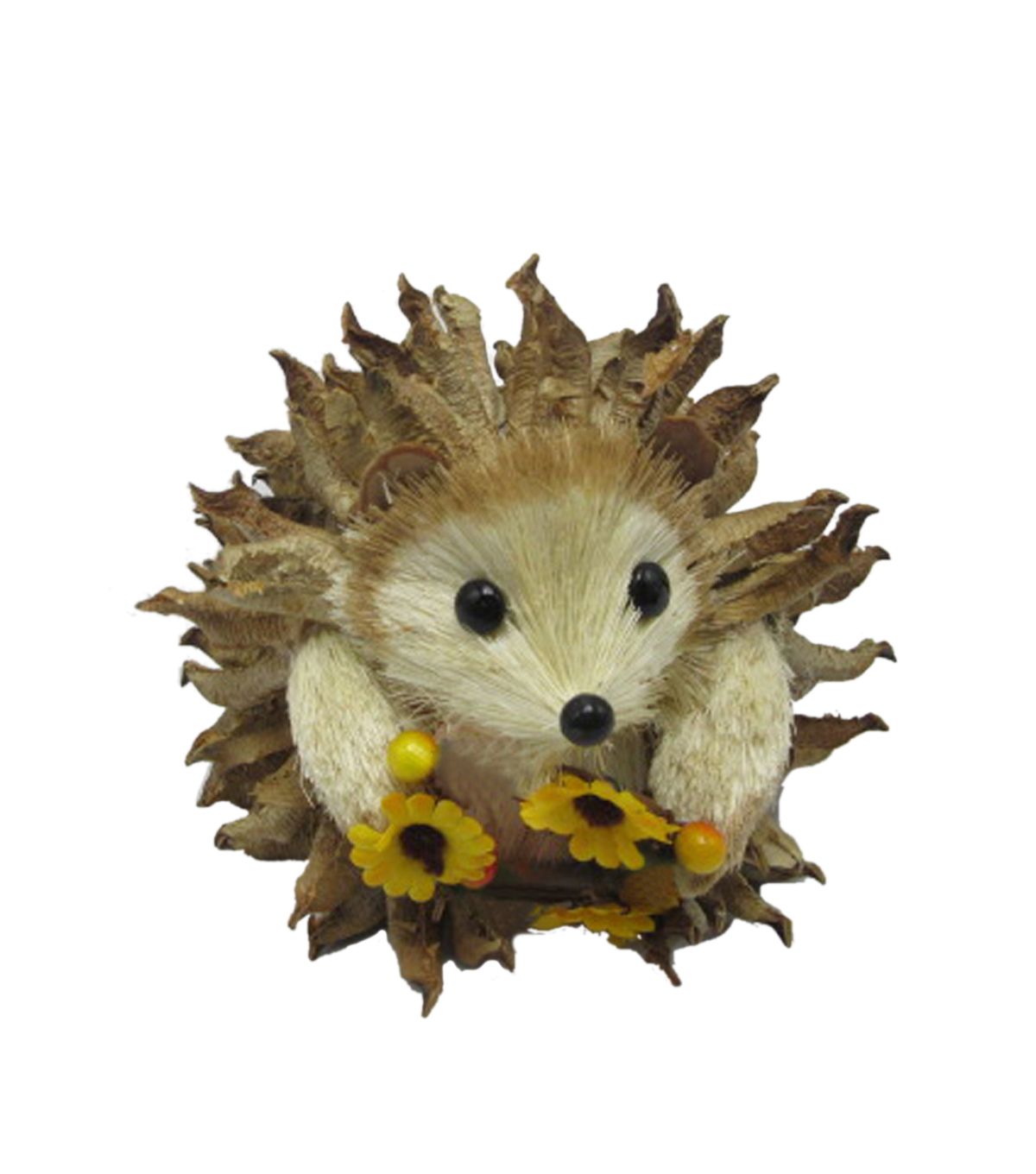 Blooming Autumn Sisal & Cotton Shell Hedgehog with Sunflowers