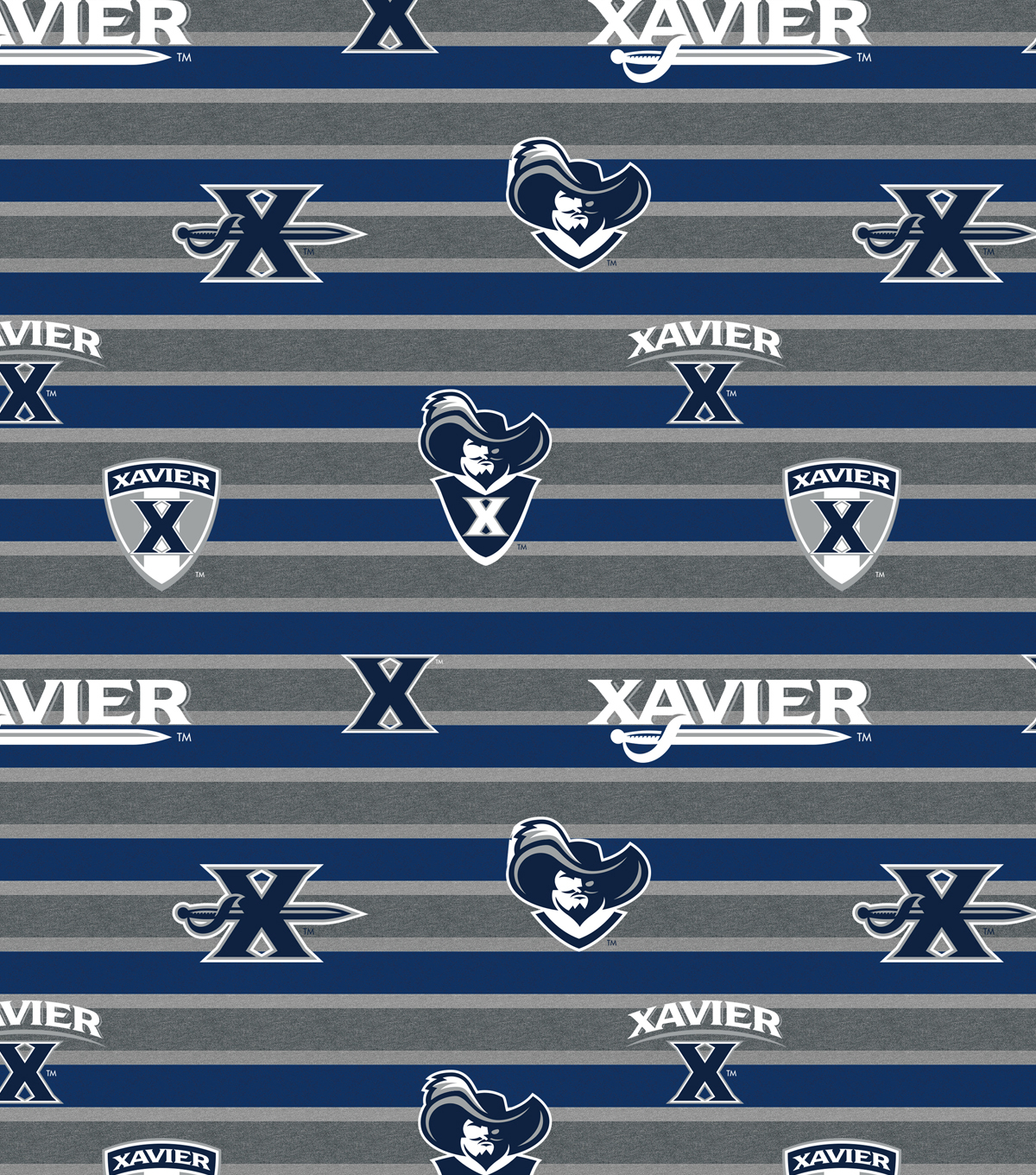 Xavier Musketeers Fleece Fabric-Polo Stripes