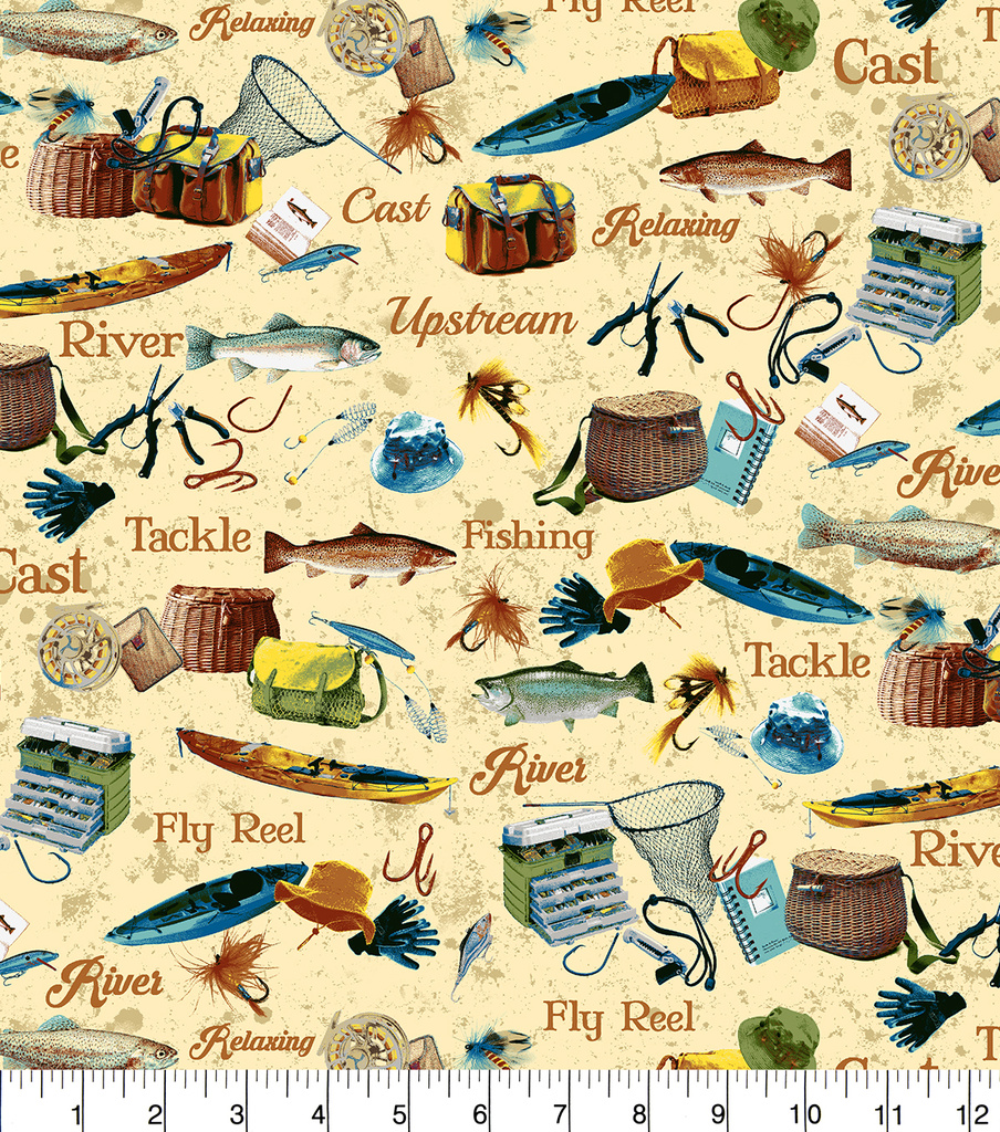 Snuggle Flannel Fabric -Reel, Tackle & River