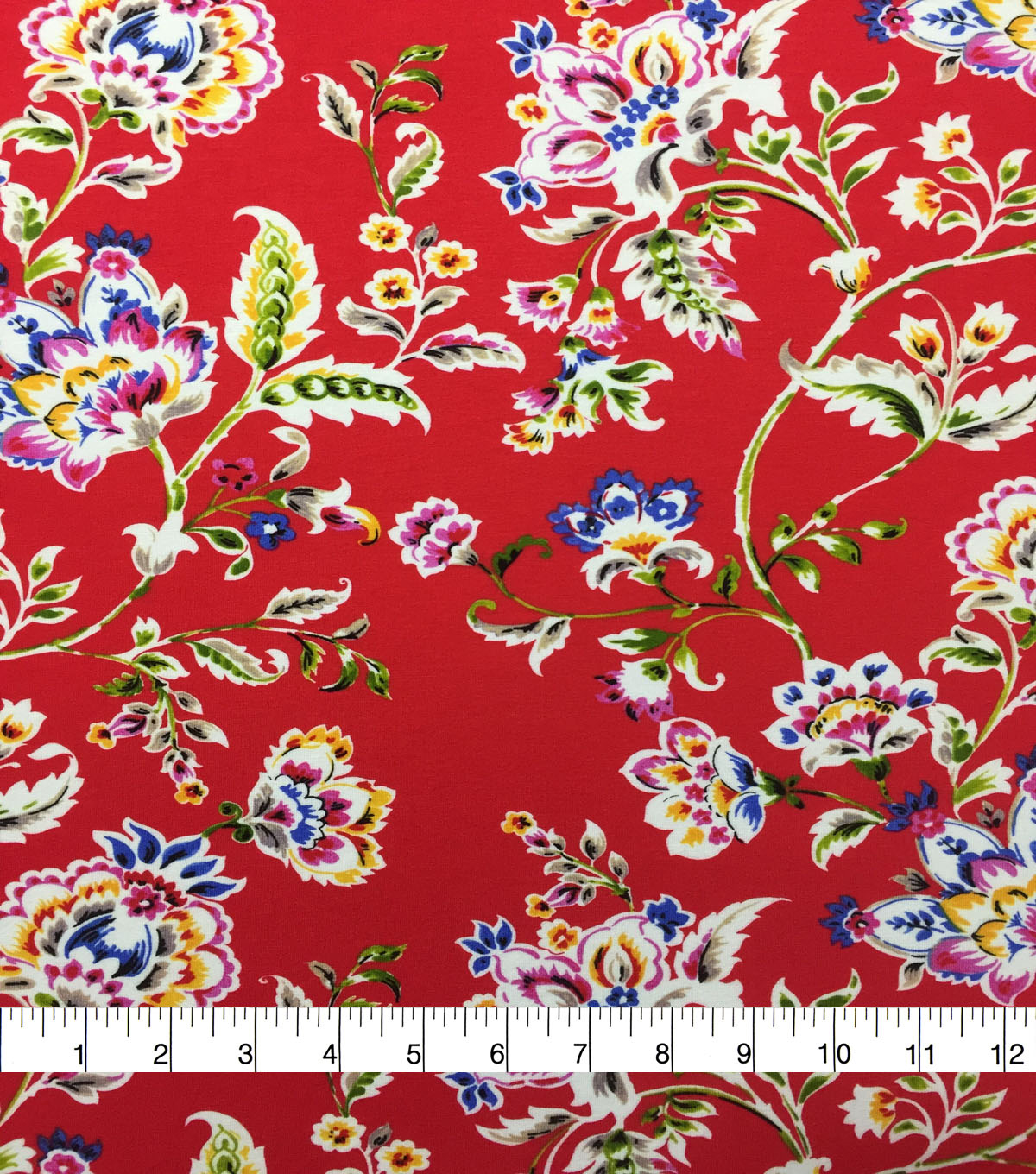 Knit Prints Rayon Spandex Fabric-Red Folk Floral