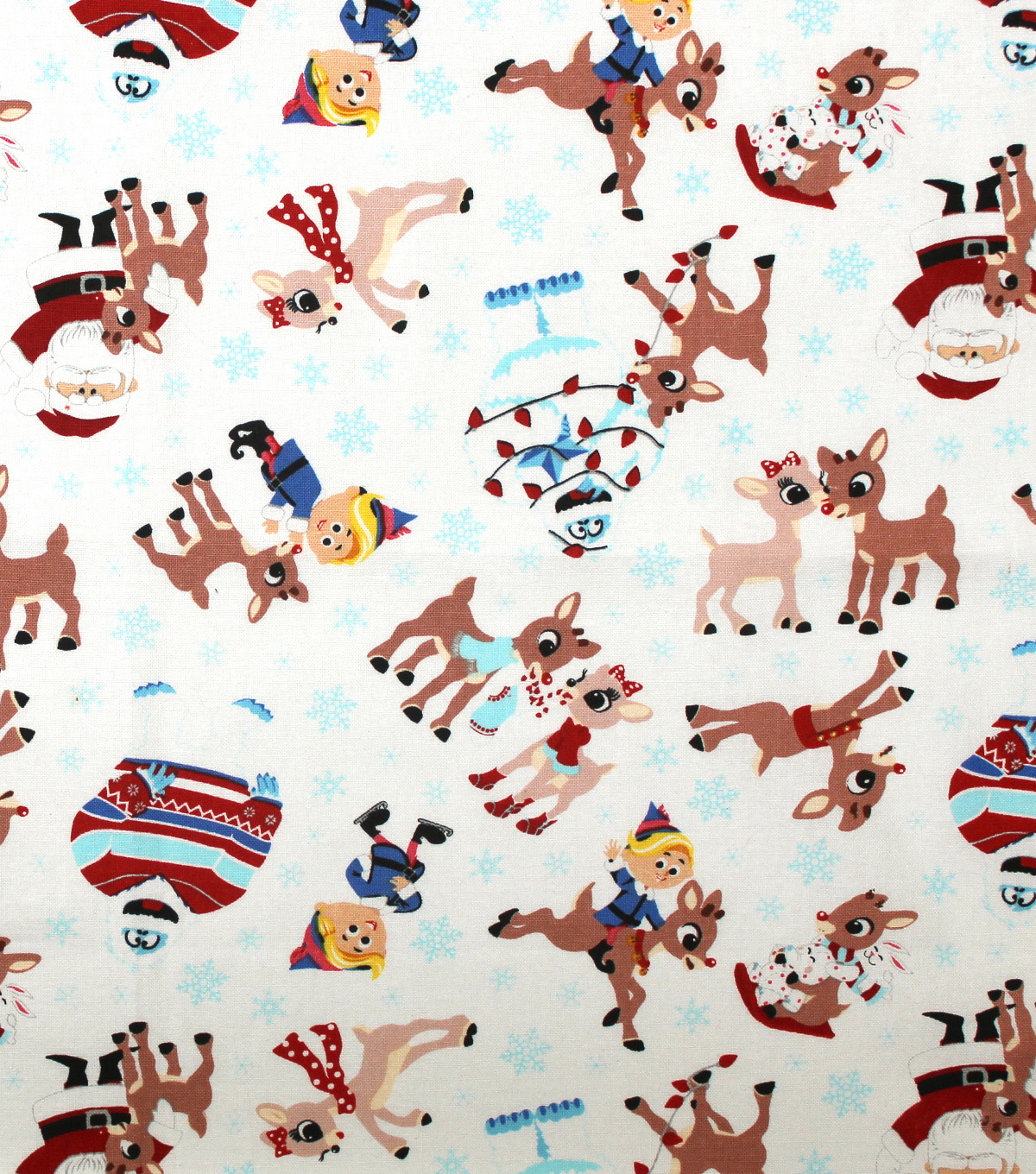 Christmas Rudolph The Red Nosed Reindeer Cotton Fabric Winter Fun