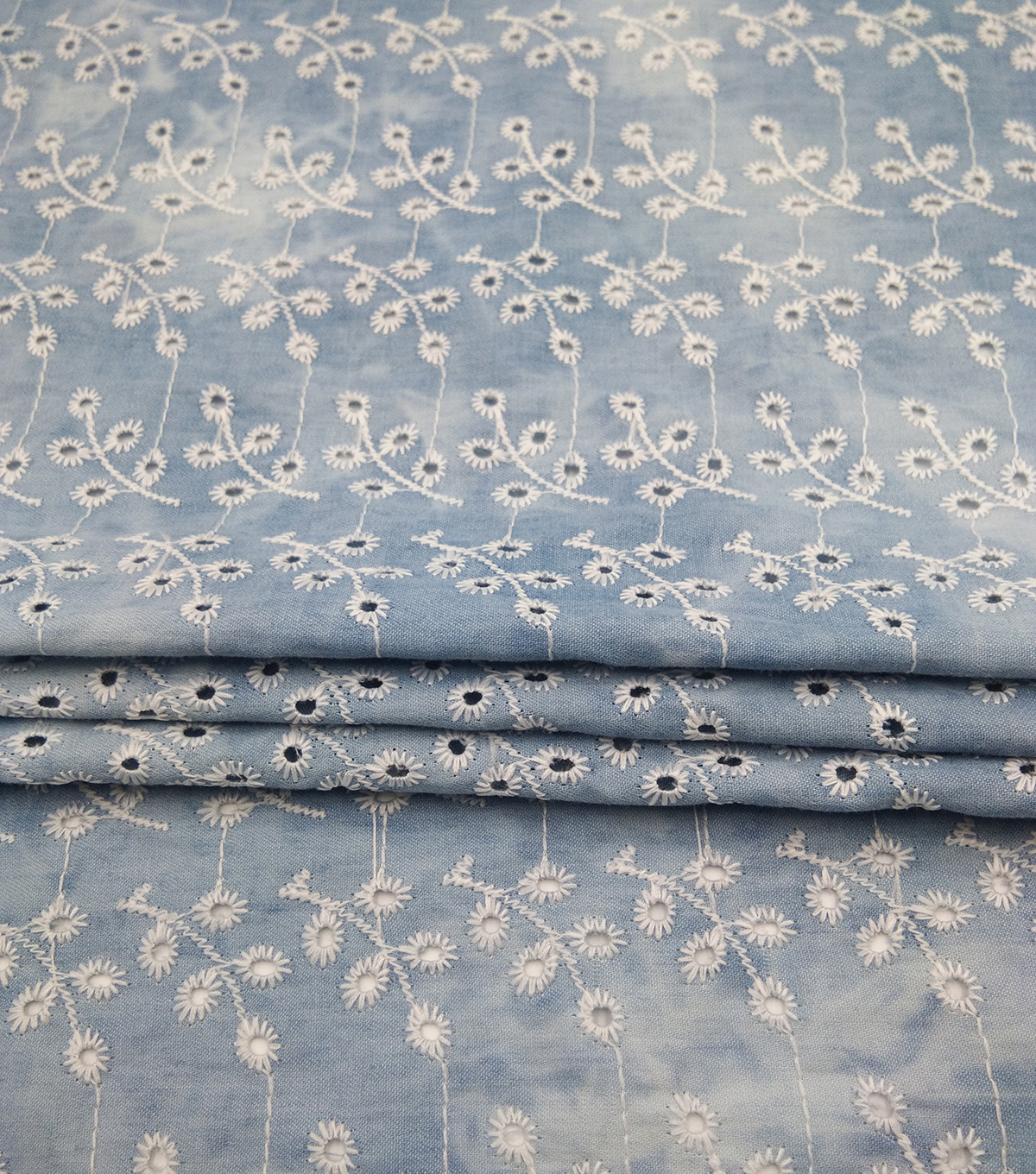 Denim Cotton Fabric-Blue Tie Dye Eyelet