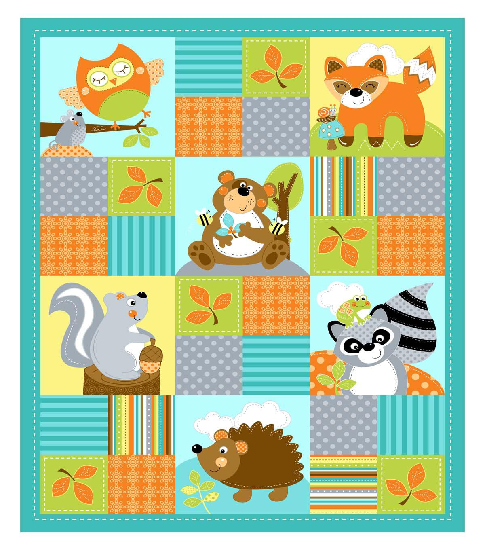 Nursery Fabric Woodland Whimsy Teal Panel
