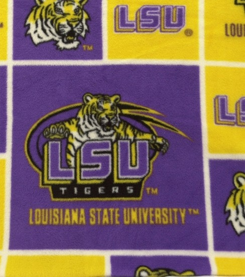 Louisiana State University Tigers Fleece Fabric 58