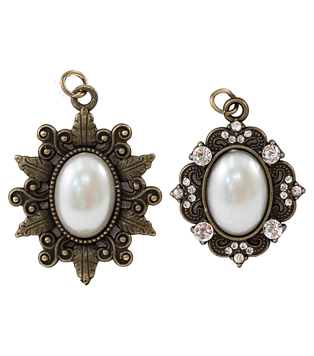 Tim Holtz Assemblage Pack of 2 Oval Pearl Frames Charms