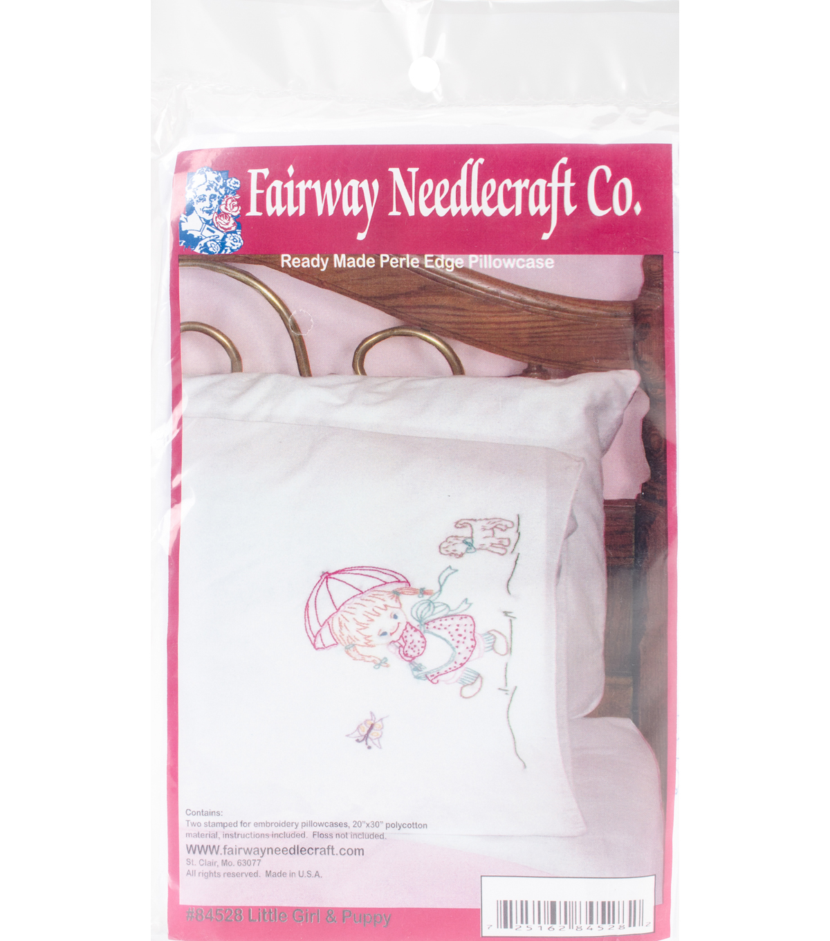 Fairway Needlecraft Stamped Perle Edge Pillowcases-Girl with Puppy