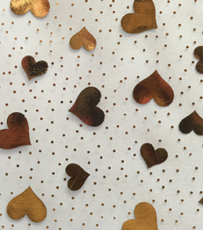 Spring Organza Fabric 57\u0022-Tossed Hearts Gold White