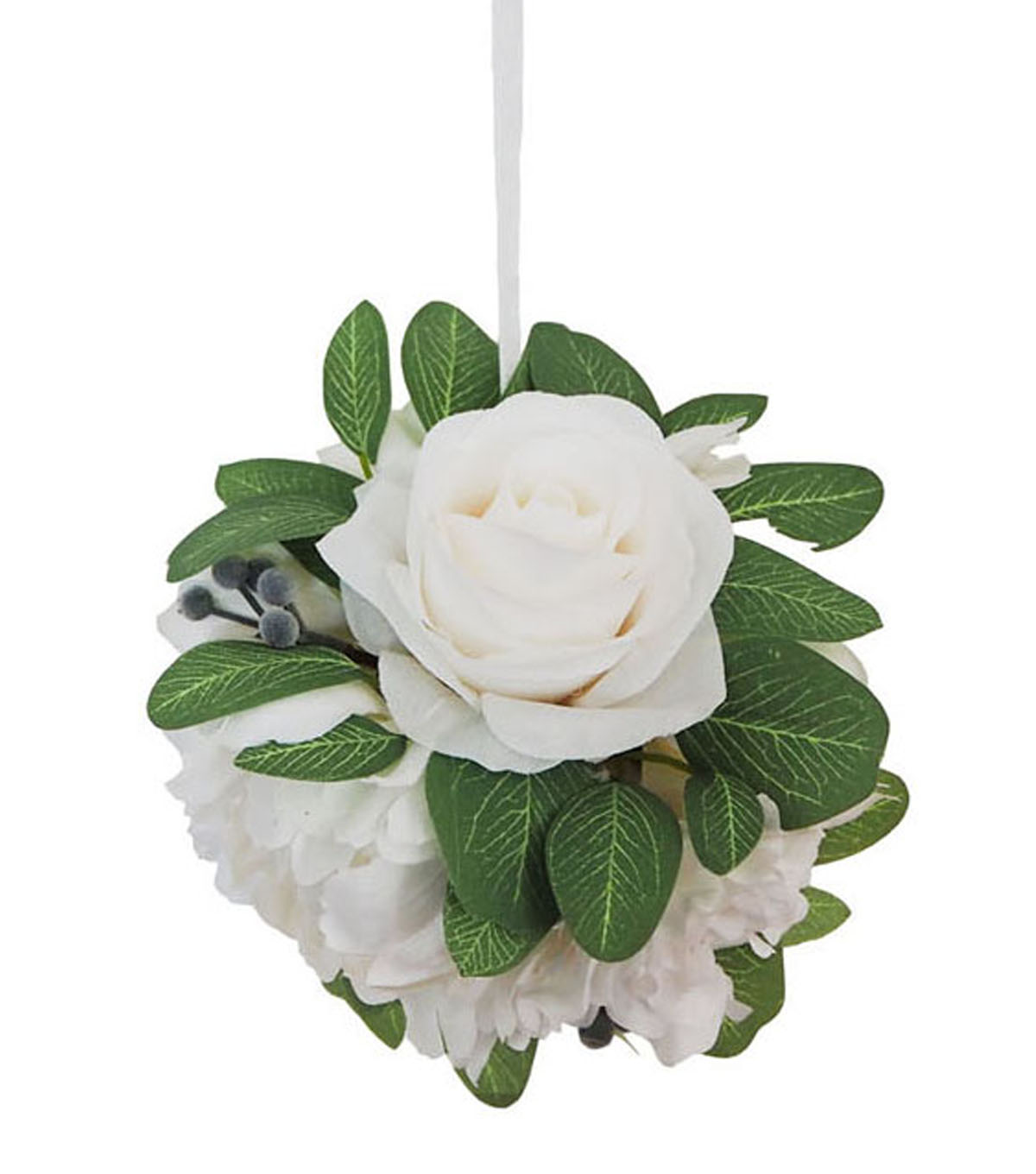 Blooming Autumn Small Peony & Dahlia Kissing Ball-White