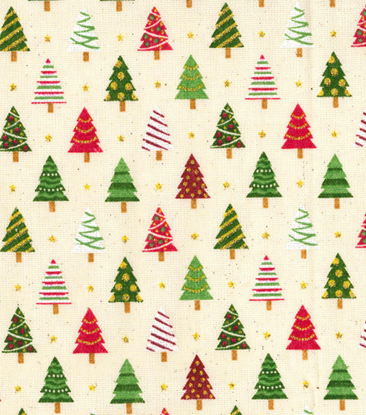 Christmas Osnaburg Cotton Print Fabric -Christmas Tree