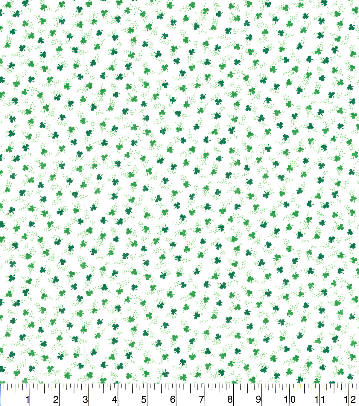 St. Patrick\u0027s Day Cotton Fabric-Ditsy Shamrocks White