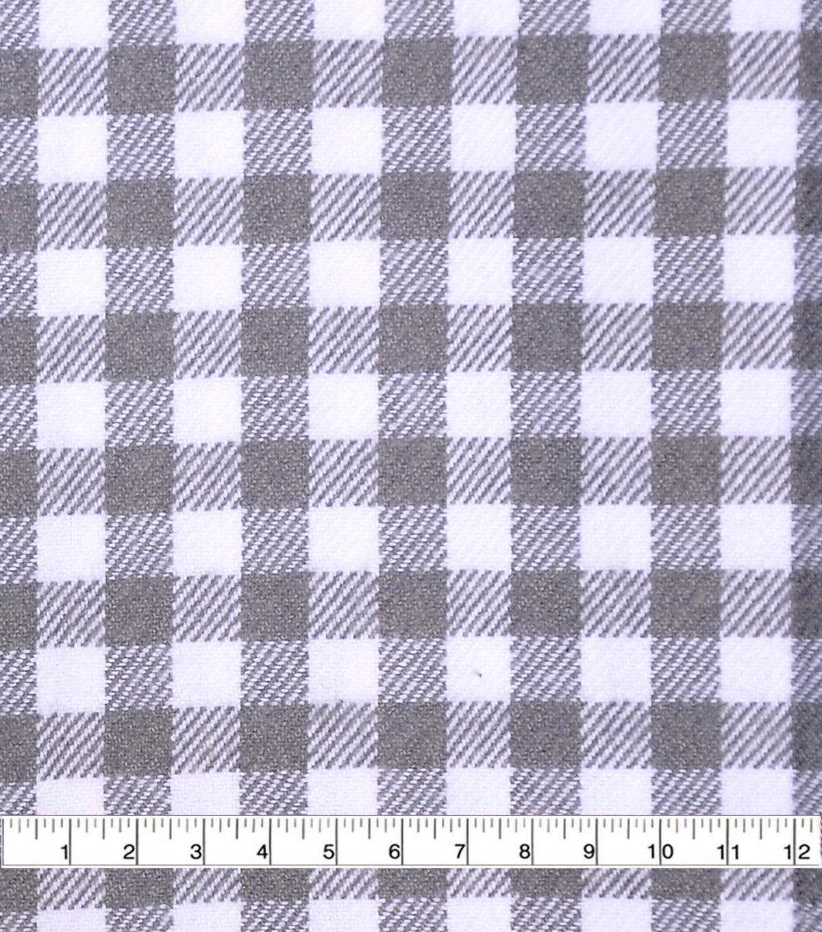 Plaiditudes Brushed Apparel Fabric -White & Gray Gingham Plaid