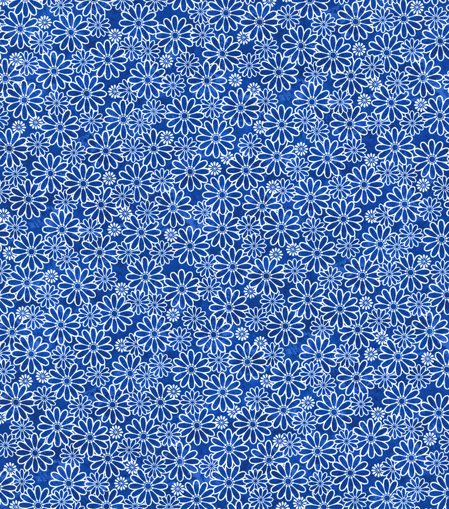 Keepsake Calico Cotton Fabric-Sundrenched Daisies Royal Blue