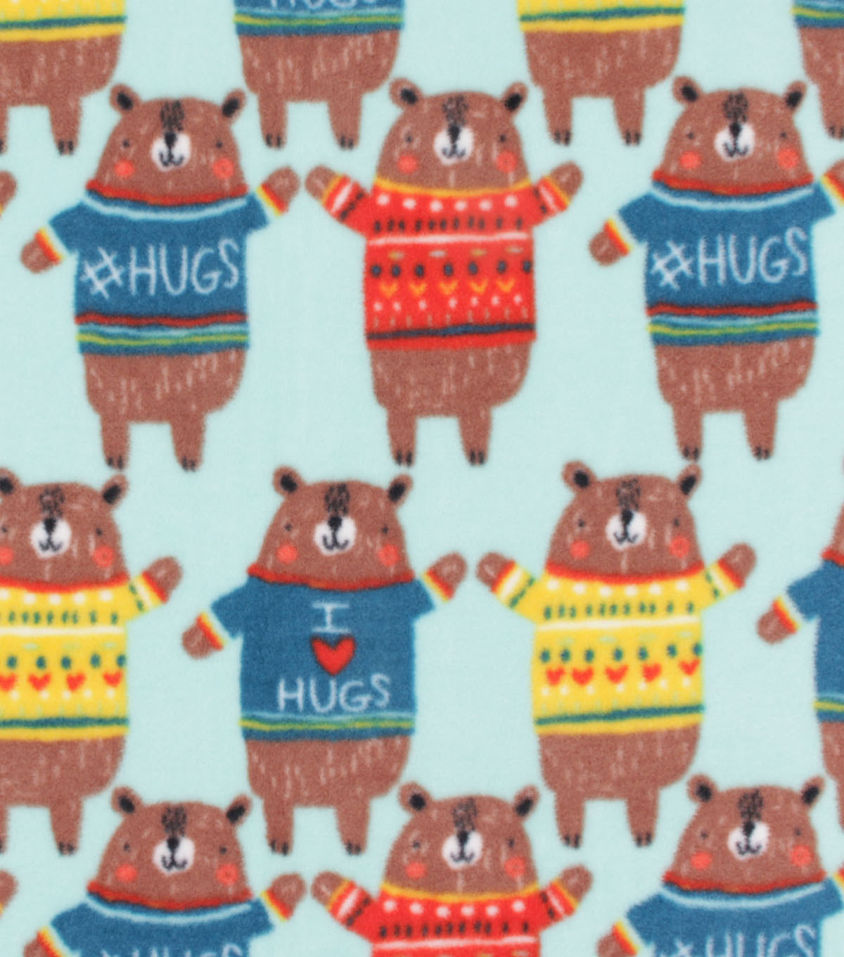 Anti-Pill Plush Fleece Fabric-Hugs on Bear Sweaters