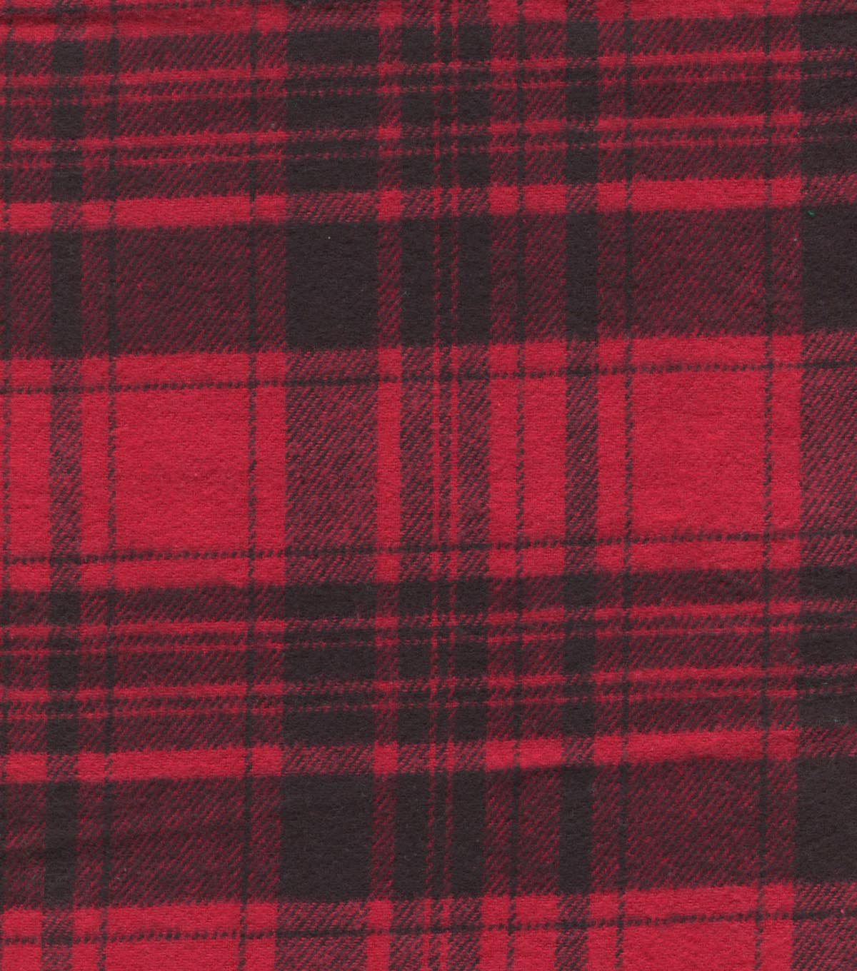 Plaid Brush Cotton-Black Red