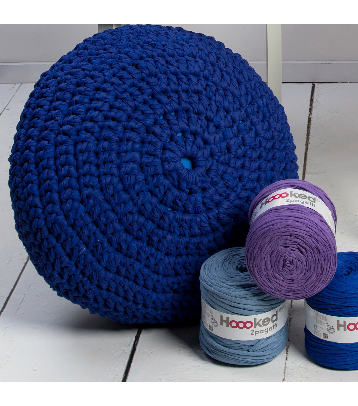Hoooked Knit & Crochet Pouf Kit with Zpagetti Yarn-Cherry Blossom