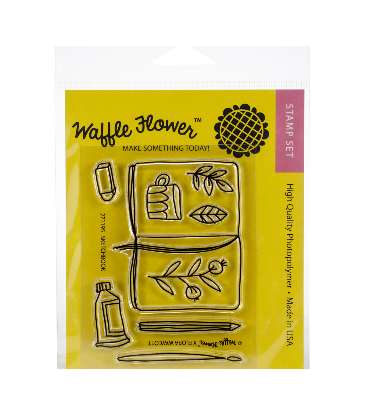 Waffle Flower Crafts 9 pk Photopolymer Clear Stamps-Sketch Book